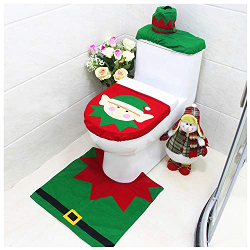 Christmas Toilet Seat Cover and Rug Set Tank Lid Covers Tissue Box Cover Xmas Decorations Funny Bathroom Santa Claus Snowman Elf Festival Decor for Home Hotel Holiday Party Supplies Pack of 3 Elf