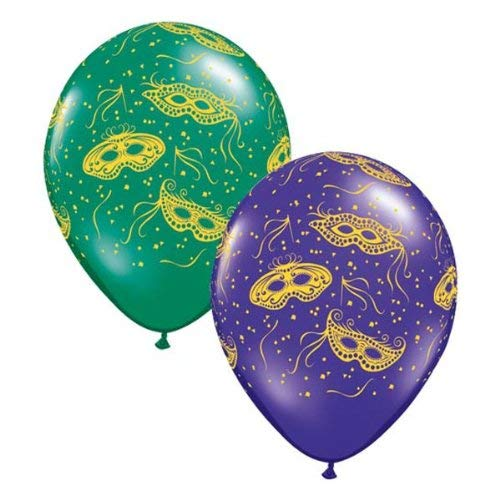 Best Price Qualatex Mardi Gras Masks 11 Round Balloons - Emerald Green and Quartz Purple - Pack of ...