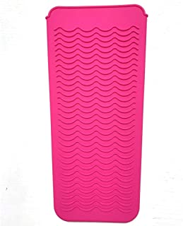 Heat Resistant Silicone Mat Pouch, Lessmon Hair Styling Tools for Curling Irons, Hair Straightener, Flat Irons, Length 11.5 & Width 6 Inches, Food Grade Silicone, Pink