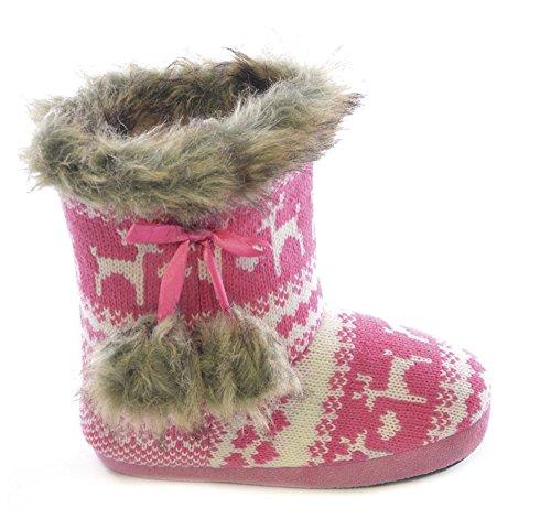Slumberezz Warm Boot Slippers Pretty Heart Design for Women (5/6 UK, Pink Reindeer)