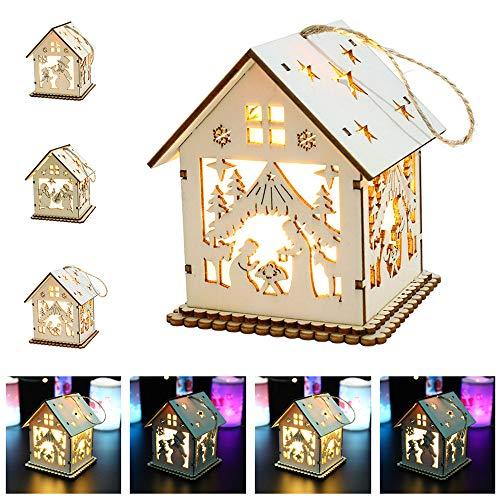Bibao 3D Luce di Natale casa in Legno, 9x 9x 11cm, Migliore Regalo per Bambini, Amici, Famiglia, A, 9x9x11 CM