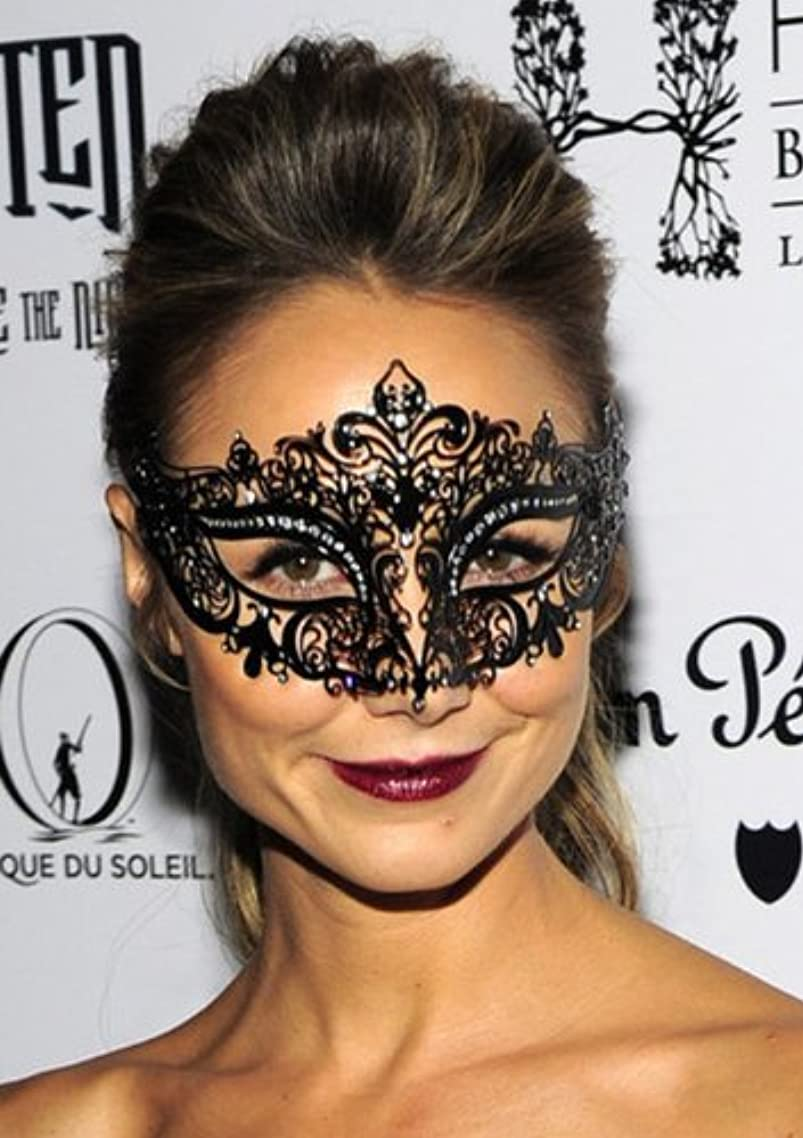 Lady Black Crown Laser Cut Venetian Masquerade Mask with Rhinestones Event Party Ball Mardi Gars