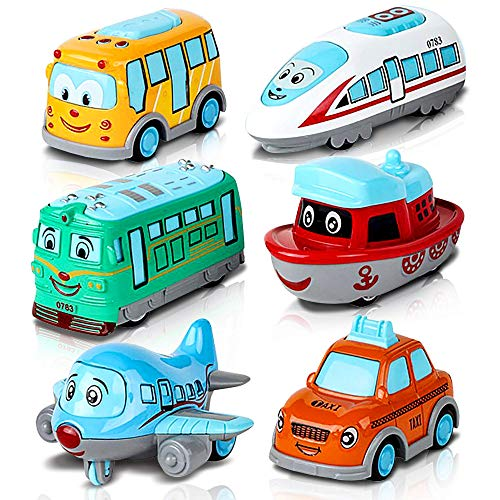 ArtCreativity Metal Cartoon Car Set - Set of 6 Mini Pullback Toy Cars - Pullback Train, Bus, Taxi, Tram, Plane and Ship - Party Favors, Best Birthday Gift for Boys, Girls, Toddlers
