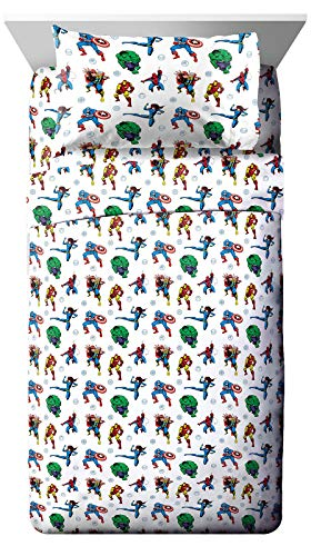 Jay Franco Marvel Avengers Fighting Team Twin Sheet Set - 3 Piece Set Super Soft and Cozy Kid's Bedding - Fade Resistant Microfiber Sheets (Official Marvel Product)