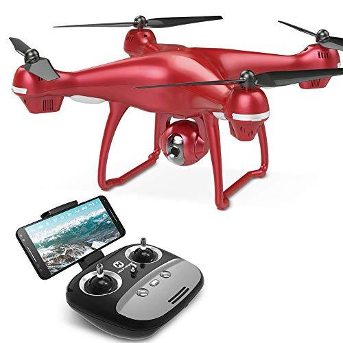 Rote RC-Drohne, Drohnen mit Kamera für Erwachsene, professionelle GPS-FPV-WiFi-Kamera, HD 1080P Rc-Hubschrauber für Erwachsene Mit automatischer Rückgabe Drohnen, Quadrocopter Gimbal