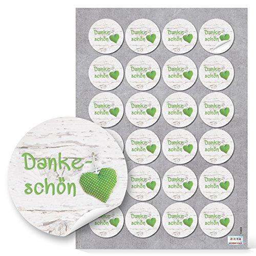 96 DANKESCHÖN DANKE grün weiß HERZ GEPUNKTET Aufkleber rund Deko Verpackung Geschenke Hochzeit Kommunion Geburtstag Fest Geschenkaufkleber Sticker Etiketten hellgrün
