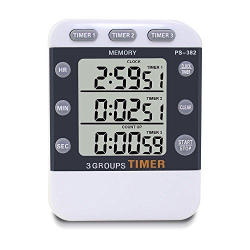 YoyoKit Temporizador de cocina digital, 3 canales simultáneos de tiempo de cocción magnética con pantalla LCD grande y sonido de alarma fuerte, memoria, cronómetro, cuenta atrás combinado,deportes