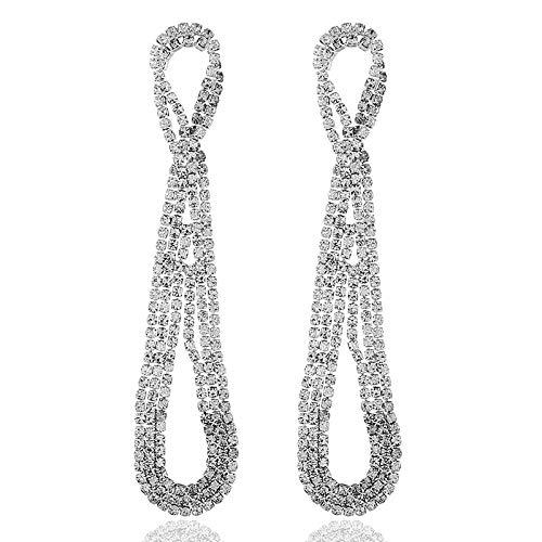 SUNHAO Pendientes exagerados Europa y los Estados Unidos Pendientes de Diamantes de imitación Pendientes Largos/Pendientes Femeninos Femeninos Accesorios de joyería Femenina