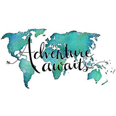 Adventure Awaits Teal World Map Art Print Travel Quote Wall Decor 8x10 inches