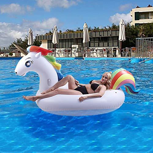 AuRiver Flotador Inflable para Piscina con Forma de Unicornio,Adecuado para Piscinas de Verano y Playa para Adultos y Niños, Regalo Fiesta