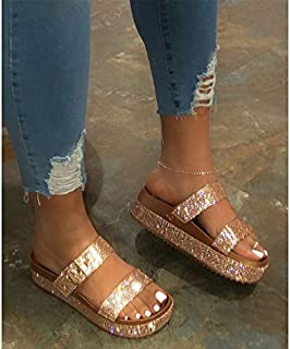 Summer Women's Shoes Woman Platform Sandals Slippers Slides with Buckle Ladies Slippers Thick Sole Female Slippers Shiny outdoor slippers (Color : Gold, Shoe Size : 40)