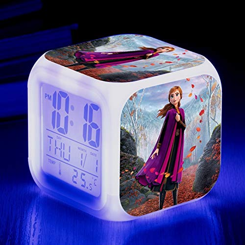 FDGFDG Neue Filmfigur Schneemann Liebesgeschichte Film Prinzessin Anna Digital Wecker Farbwechsel LED Mini Uhr Kinder Cartoon Anime EIS