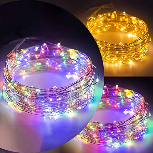 ANJAYLIA 2 in 1 Warm White & Multicolor 33ft 100 LED Fairy Lights, USB Powered Plug-in Powered Waterproof String Lights with Remote Timer Adapter for Bedroom Garden Wedding Party Christmas Decorations