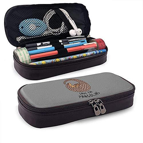 Save The Pangolins Leather Pencil Case Sac à cosmétiques de voyage portable