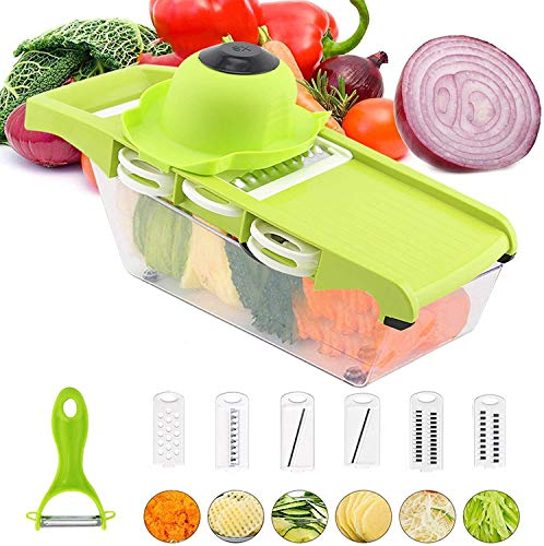 6 in 1 Multi-function Vegetable Slicer Kitchen Mandolin,Potato Chipper, Food Cutter with Storage Container and Peeler for Onion, Cucumber, Carrots, Fruits, Cheese (Green)