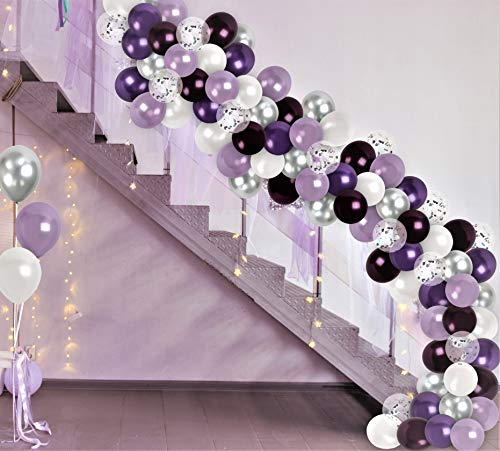 Chrome Silver Purple Balloon Garland Kit White Lavender Plum Purple Balloons Arch Silver Confetti Balloons Wedding Bridal Shower Party Decor for Birthday Baby Shower Party Graduation Decorations