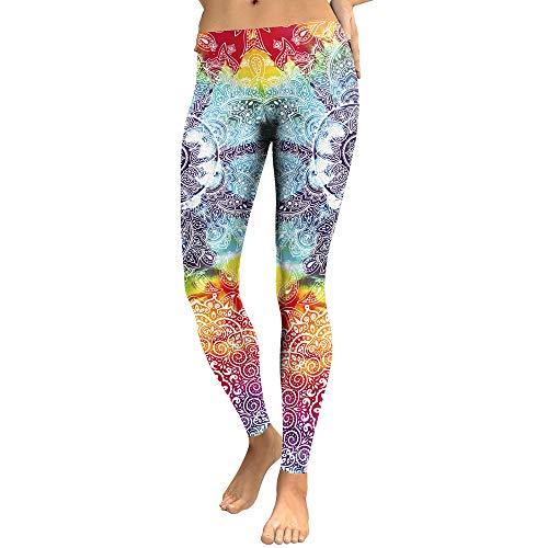 Mad Ink Sexy Tight Pants Mandala Tattoo Digital Full 3D Print Elasticity Leggings Pencil Pants for Women Girls (Tie-dye Mandala, L=US M)