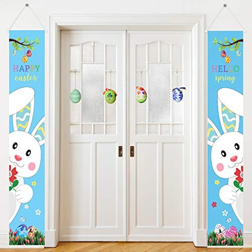 2 Pieces Easter Porch Sign Happy Easter Hello Spring Hanging Door Sign Bunny Eggs Wall Porch product image
