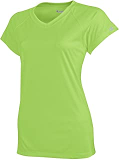 Champion Women's Essential Double Dry V-Neck T-Shirt_Neon Lime Green_Small