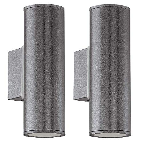 2 Pack - Anthracite LED Outdoor Modern Up & Down Cylindrical Spot Wall Light | 2 x 3W LED GU10 Lamp Bulbs Included 240 Lumen | IP44 Exterior Rated | Garden & Patio