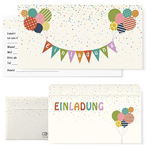 Postkartenschmiede 12 Einladungskarten Kindergeburtstag mit Luftballons – Einladungen Geburtstag Jungen Mädchen mit Umschlägen - Einladungskarten Kinder (bunt)