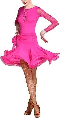 Robe Perforhommece Femme Femmes Manches Longues Col Rond Dentelle Salle De Bal Robe De Danse Latine Costume De Perforhommece Compétition Professionnelle Pratique De Danse Party Dance Jupe Costume Ensemble