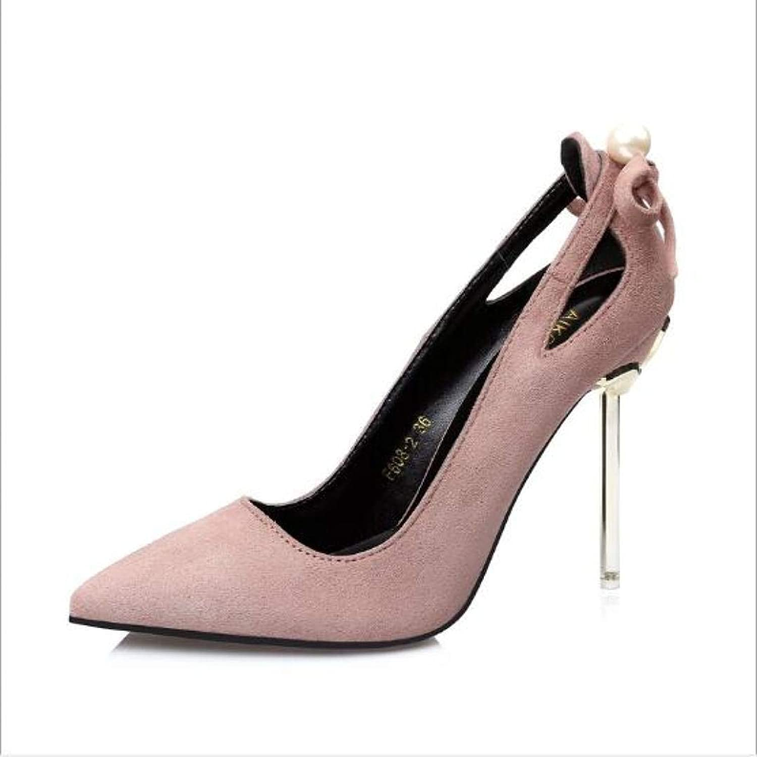 GanQuan2018 Women Thin High-Heels,Pointed Toe Slip on Shallow Hollow Bowknot Fashion Pumps