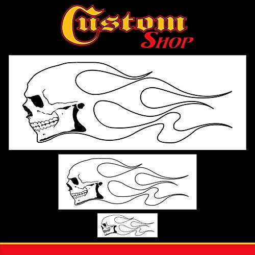 Custom Shop Airbrush-Schablonen-Set mit Totenkopf-Motiv (Totenkopf-Design Nr. 1 in 3 Größen) – Lasergeschnittene, wiederverwendbare Vorlagen – Auto, Motorrad Grafik Kunst