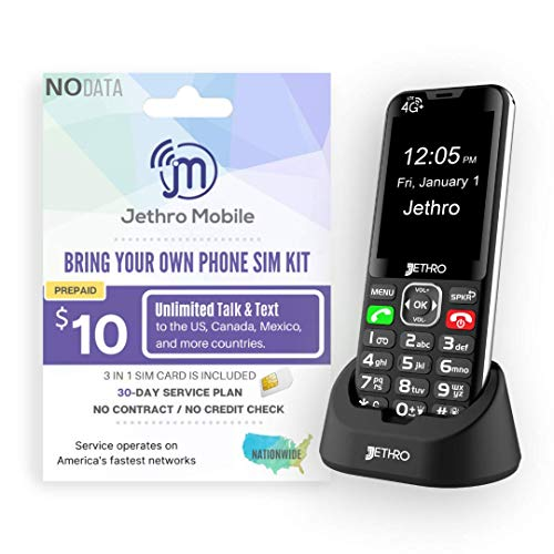 Jethro SC490 4G Senior Cell Phone with 30 Days Unlimited Talk & Tex Plan for Elderly & Kids Bar Style