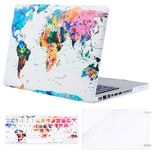 MOSISO Plastic Pattern Hard Case&Keyboard Cover&Screen Protector Only Compatible with Old Version MacBook Pro 13 inch (A1278, with CD-ROM) Release Early 2012/2011/2010/2009/2008, World Map