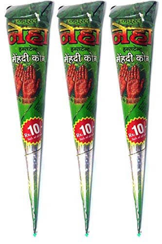3x Natural Mehndi Body Art Tattoo Cones