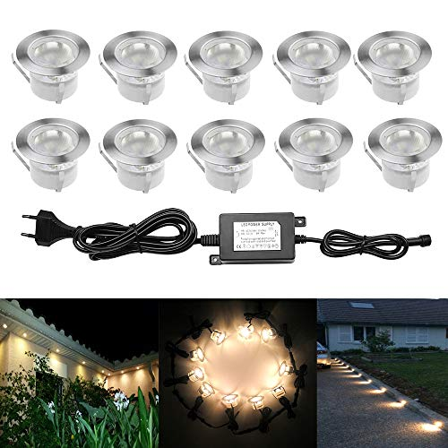 10pcs Luz LED Foco empotrable al Aire Libre 1W IP67 Impermea