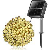 YLS Solar Lichterkette Außen, 14M 120 LEDs Lichterketten Aussen, Wasserdicht mit 8 Leuchtmodis Lichterkette für Balkon, Gartendeko, Bäume, Terrasse, Hochzeiten, Weihnachtsbeleuchtung (Warmweiß)