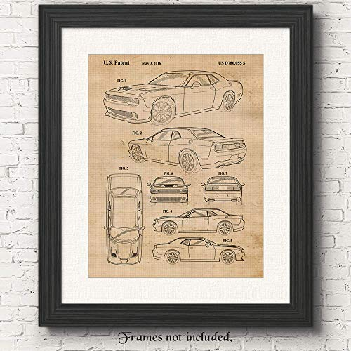 Vintage Dodge Challenger SRT Hellcat Patent Poster Prints, Set of 1 (11x14) Unframed Photo, Wall Art Decor Gifts Under 15 for Home, Office, Man Cave, College Student, MOPAR American Cars & Coffee Fan