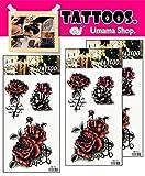 Umama Tattoos 3 Sheets Beautiful Red Roses Cartoon Tattoos English Word Flower Love Pattern Tattoo Sticker 3D Waterproof Disposable Pattern Body Art Temporary for Men Women
