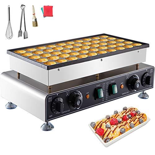 VBENLEM 110V Mini Dutch Pancake Baker 50PCS 1700W Commercial Electric Nonstick Waffle Maker Machine 1.8 Inches for Home and Restaurants