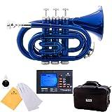 Mendini MPT-BL Blue Lacquer Brass Bb Pocket Trumpet + Tuner, Case, Valve Oil, & More