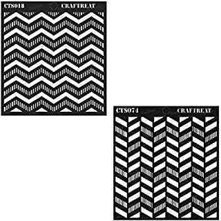Craftreat Stencil - Striped Chevron and Striped Herringbone (2 pcs) - Reusable Painting Template for Home Decor, Crafting, DIY Albums, Scrapbook and Printing on Paper, Wall, Fabric, Wood 6x6 inches