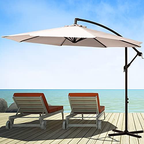 KITADIN Offset Umbrella 10Ft Cantilever Patio Hanging Umbrella Outdoor Market Umbrellas with Crank Lift & Cross Base (Beige)