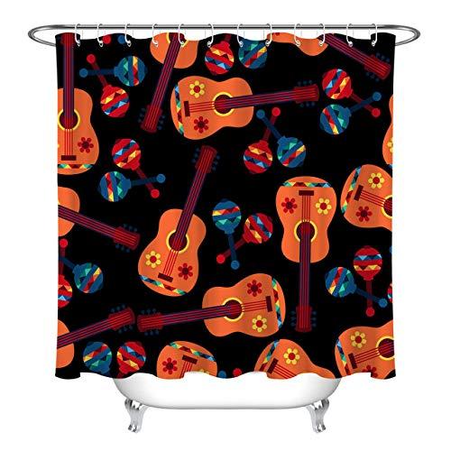 zhangqiuping88 Japanische Klassische Instrument Duschvorhang Bad Durable Fabric Mehltau Bad Anhänger Kreative mit 12 Haken 180X180 cm