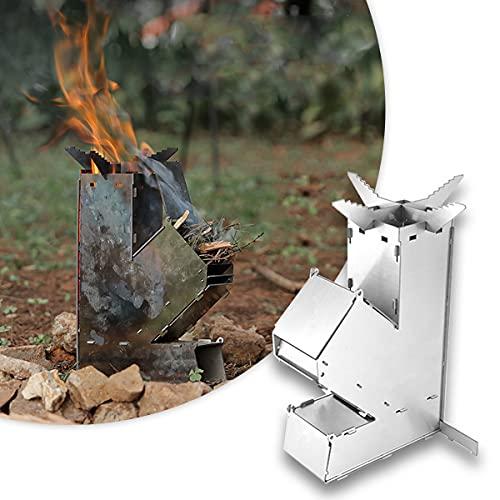 BLLJQ Estufa De Leña Plegable De Inoxidable Portátil Ligera Estufa De Cohete, para Picnic BBQ Campamento Senderismo