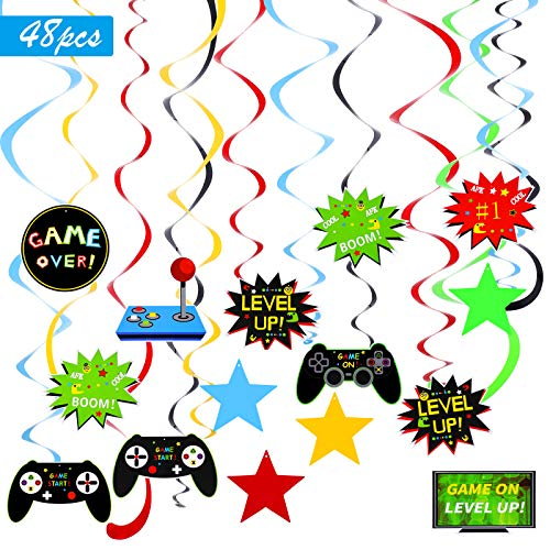 48 Pieces Video Game Party Hanging Swirls Decorations Video Game Themed Party Supplies Birthday Hanging Whirls Streamer Decorations Game Fans Party Favors