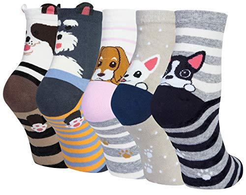 Chalier 5 Pares Calcetines de Animales de Mujer Calcetines Divertidos para Mujer Calcetines para Gatos y Perros