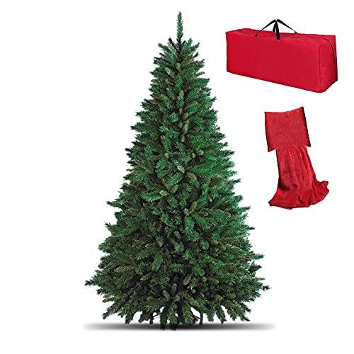Totò Piccinni Albero di Natale Artificiale NOEL, Folto, Effetto Realistico, Rami a Gancio, Facile Montaggio, PVC, Ignifugo con Borsone (240 cm, Verde)