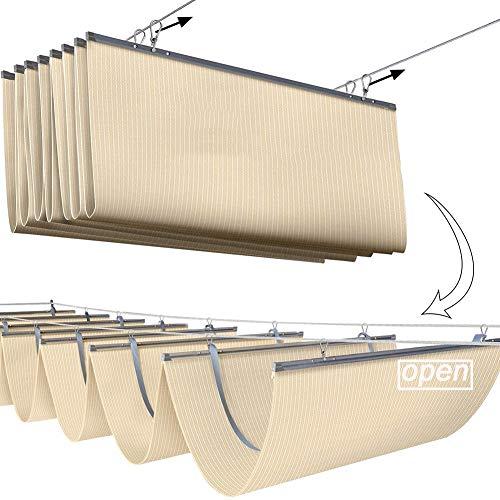 NOSYI - Tenda a vela retrattile per tetto a onda, per esterni, patio, giardino, feste, piscina (colore: beige, dimensioni: 1,5 x 3 m)