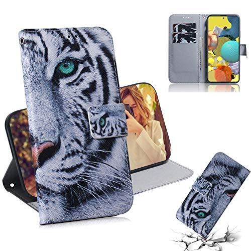 Brifu - Funda para teléfono móvil compatible con Samsung Galaxy A51 5G, piel sintética con tapa magnética y ranura para tarjetas, diseño de tigre y lápiz capacitivo