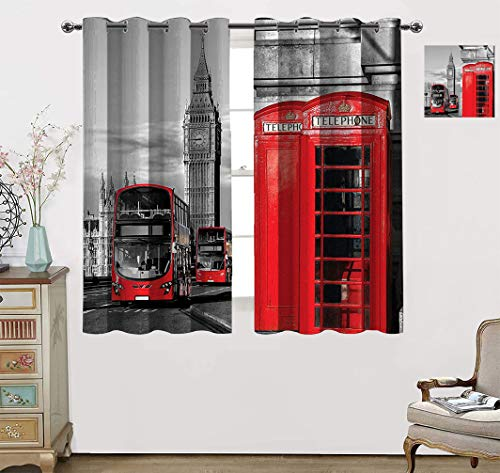 """Amazing London Decor Room Darkening Curtain, London Telephone Booth in The Street Traditional Local Cultural Icon UK Retro Print Blackout Window Curtains with Grommets Set, 55"""" W x 40"""" L Red Grey"""
