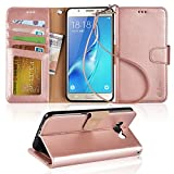 Arae Galaxy J7 Wallet Case with Kickstand and Flip Cover, Rosegold
