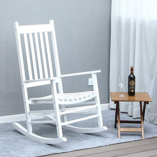 MYL Large Adults Lounge Rocking Chairs, Wooden Heavy Duty Porch Rocker Chair with Wide Seat and Armrest, Perfect for Backyard, Balcony, Pools and Lawn, Load 175kg (Color : White)