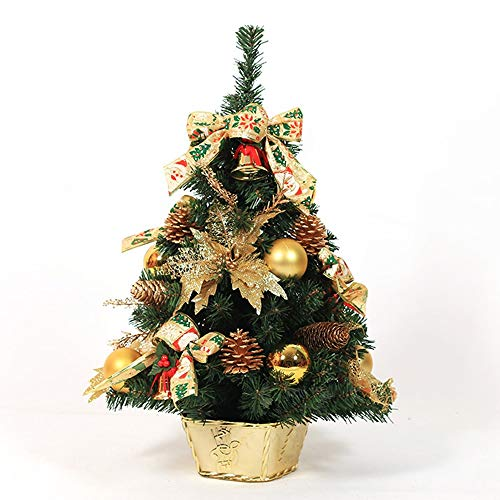 LEYOUDIAN baijian Pequeño árbol de Navidad Decorativo Dorado Decorado de Navidad Paquete de arbol de Navidad...